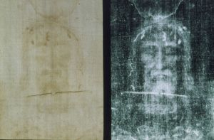 actual detail juxtaposed with the negative image of the Shroud of Turin